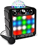 ION Audio Kabelloser Lautsprecher - Party Rocker Express BT Speaker mit LED und Mikrofon (Musik-Streaming von jedem Bluetooth-Gerät - eingebautes Mikro sychronisiert das Licht zur Musik - Reichweite: 30 Fuß)