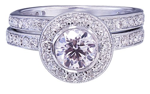GIA H-VS2 18K White Gold Round Cut Diamond Engagement Ring and Band Bezel 1.55ct