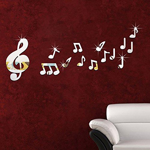 LWCX Wall Stickers 3D Three-Dimensional Wall Stickers Children Room Music Room Acrylic Dance Class Notes,Silver 5090Cm by LWCX