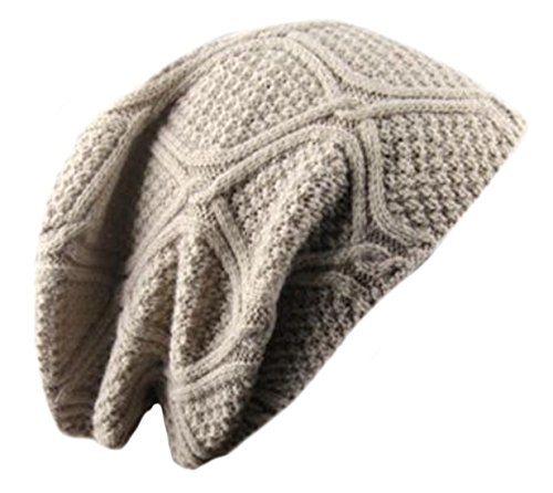 [ARRIVE GUIDE Unisex Trendy Warm Stretch Cable Knit Slouchy Skully Beanie M white] (M Bison Costume)