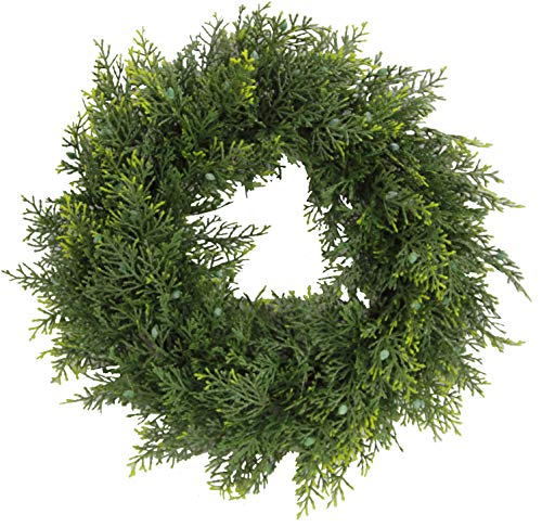 Admired By Nature Artificial 18 Inches Ceder Wreath, Green-Berry (Ideas Fresh Christmas Wreath)