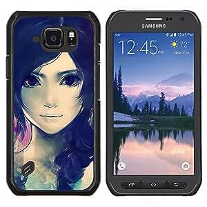 /Skull Market/ - Cute Beautiful Anime Girl For Samsung Galaxy S6 active/G870A/G890A (Not Fit S6) - Mano cubierta de la caja pintada de encargo de lujo -