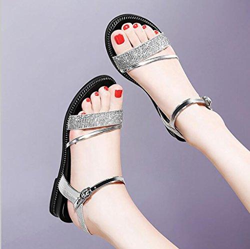 B B sandals Size shoes flat Korean simple summer sandals Roman Flat 36 Sandals Fashion Color students sandals xaP6OqqWwg