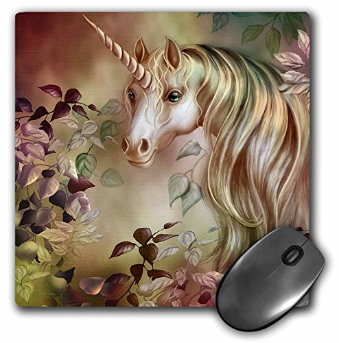 Price comparison product image 3dRose LLC 8 x 8 x 0.25 Inches Mouse Pad, a Magical Unicorn Peers Out from a Floral Enchanted Realm in This Artwork (mp_11664_1)