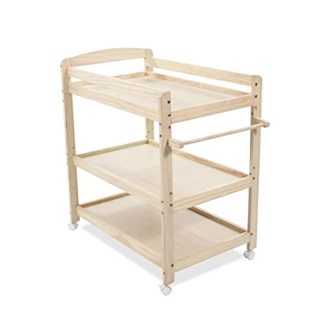 Baby Changing Table DELLT@ Three Layers Pine Wood, Removable Newborn Care  Station, Shower