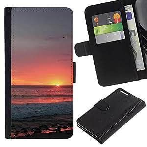 BearCase / Cuero de la tarjeta la carpeta del tirón Smartphone Slots Protección Holder /// Apple Iphone 6 PLUS 5.5 /// Cielo Verano Naranja sol Nubes Mar