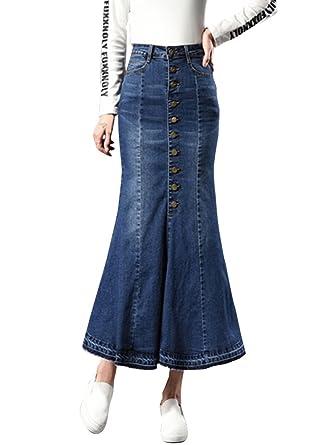 e50a7f91db Sobrisah Plus Size Maxi Full Lengt Denim Skirt Mid-High Waistline Front  Button up High Waist Flared Distressed Fringe Fishtail Jeans Skirts:  Amazon.co.uk: ...