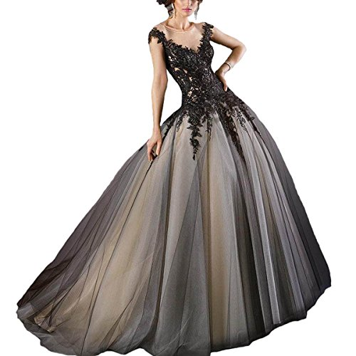 Fair Lady Gothic Black Ball Gown Wedding Dress Halter Beaded Appliques Long Evening Prom Dress