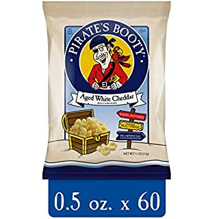 Pirate's Booty Cheese Puffs, Healthy Kids Snacks, Aged White Cheddar Baked Rice & Corn Puffs, 0.5oz (Pack of 60)