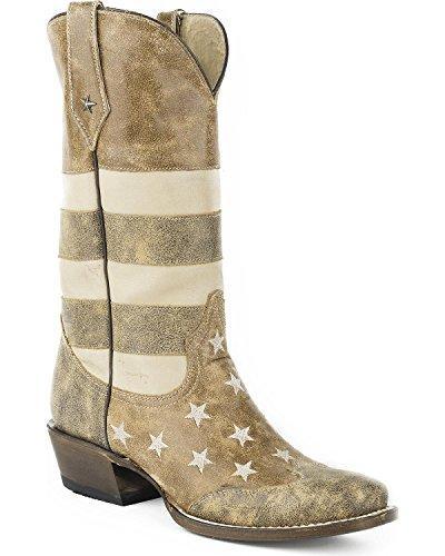 Roper Men's Vintage American Flag Western Boot Square Toe Brown 7 D