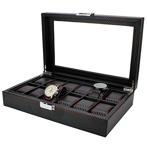 - Watch Display Box, Ezeso 12 Slots Carbon Fiber Watch Collection Jewelry Tie Box Watch Box Organizer for Men with Glass Display Top