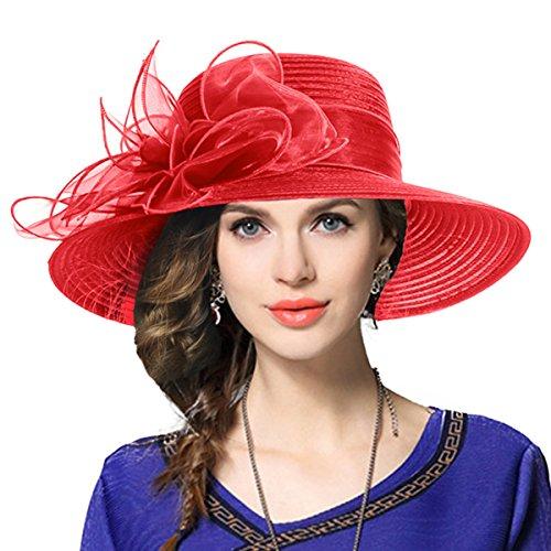 Kentucky Derby Church Dress Hat Wide Brim Leaf Flower Bridal Shower Hat (Red)