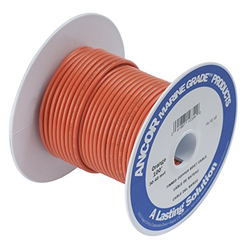 Ancor 184503 Marine Grade Electrical Primary Tinned Copper Boat Wiring (14-Gauge, Orange, 18-Feet) ()