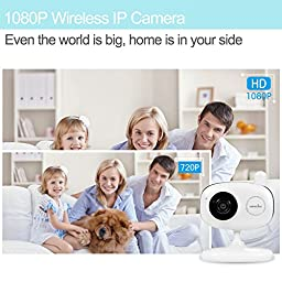 Wansview Full-HD 1080P WiFi Wireless IP Security Camera System with Two-Way Audio and Night Vision,Baby/Nanny/Pet Monitor,Temperature and Humidity Sensor K1(White)