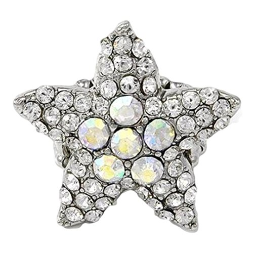 Star Stretch Ring C20 Clear Crystal Starfish BIG Statement Sea Life Ocean (Adjustable Ring Starburst)