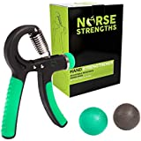 Hand Gripper Kit - Strengthener Grip Trainer with Adjustable Resistance 22 to 88 Lbs - Therapy Squeeze Balls Included - Quickly Increase Wrist Forearm and Finger Strength
