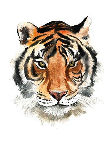 Tiger art #A029. Tiger watercolor animal print (8x10). Tiger wall art.Tiger painting.Tiger art print.Tiger pictures.Tiger artwork.Tiger poster.pictures of tigers
