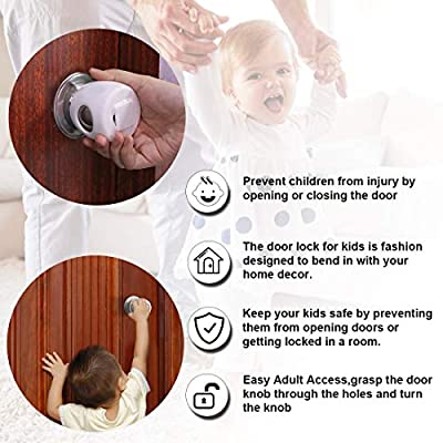 Door Knob Safety Covers, Babepai 6PCS Door Knob Safety Cover for Kids Universal Size (Gift:10PCS Outlet Plug Covers), Safety Kidproof Doorknob Handle Cover Lockable Design
