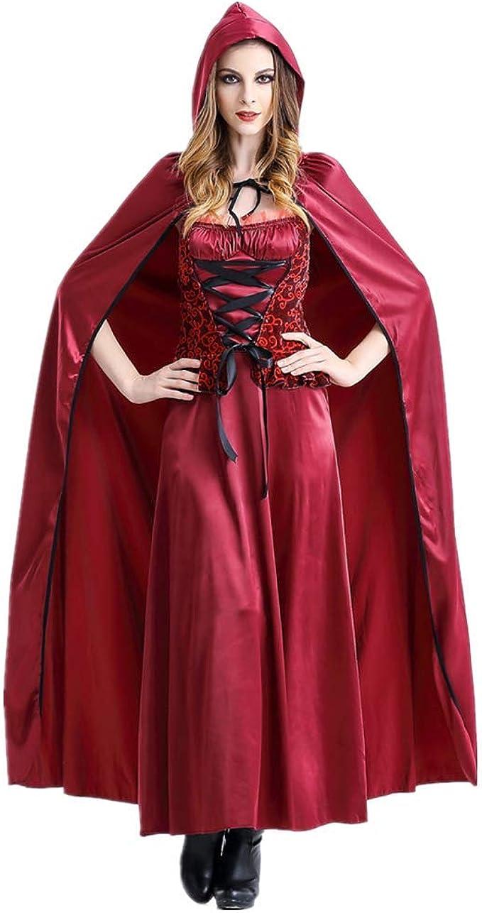 Halloween Disfraz para Mujer, Traje de Caperucita Roja Capa con ...