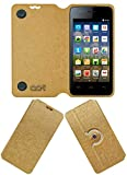 Acm Designer Rotating Flip Flap Case for Micromax Bolt A067 Mobile Stand Cover Golden