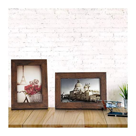 Emfogo 4x6 Picture Frames Photo Display for Tabletop or Wall Mount Solid Wood High Definition Glass Photo Frame Pack of 2 Vintage Walnut - EXQUISITE FRAME: Made of solid Paulownia wood, finished with the burnished black accents,high definition glass and smooth boarding at the back, the exquisite picture frame has been carefully designed by the designer to protect and decorate your beautiful pictures SIZE: Fits 4x6 inch photos! Photo frame's outer dimension is 6.96'' L x 4.92'' W x 0.78'' H EASY MOUNTING: Comes with easy opening tabs at the back for easy access for loading photos. The frame can be put for table top display vertically or horizontally, and hung on the wall by wall hanger at back, screw in the package - picture-frames, bedroom-decor, bedroom - 51 TmOcCrVL. SS570  -