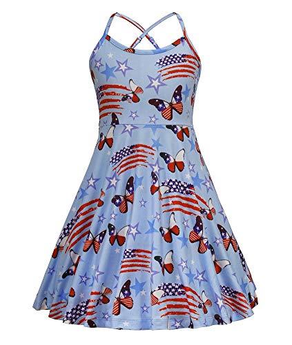 JESKIDS Girls Summer Dress American Flag Stars Stripes Print Dresses 4th of July Sundress Blue]()