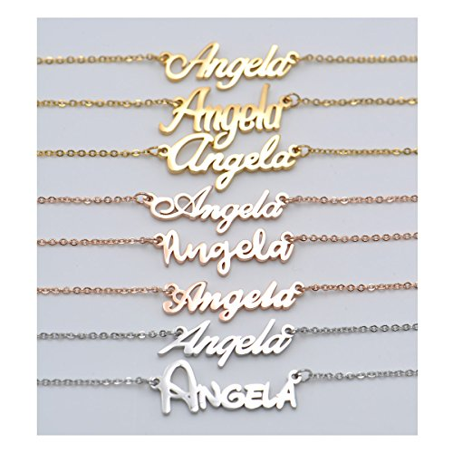 Aoloshow Monogrammed Personalized Customized Initial Name Necklace Words Girls Jewelry