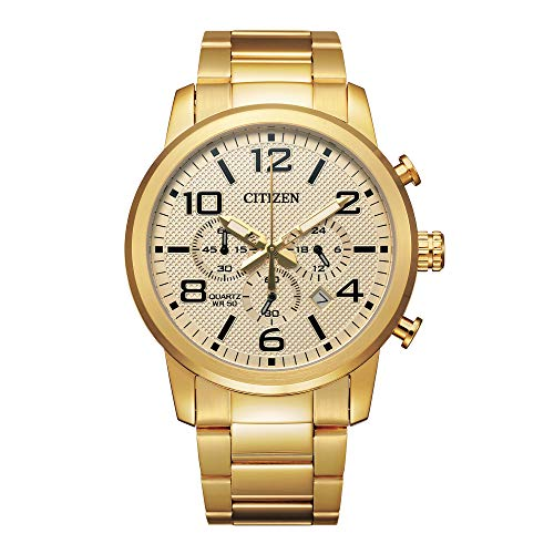 Citizen Men's Quartz Stainless Steel Strap, Gold, 22 Casual Watch (Model: AN8052-55P)