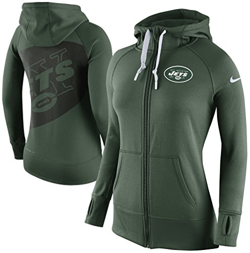 Nike WOMENS New York Jets NFL Warpspeed All Time Therma-Fit Zip Fleece Hoodie (Large, Green)