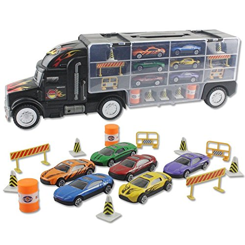 FanBell Transport Car Carrier Truck Toy for Boys (includes 6 cars and 28 (Large Car Transporter)