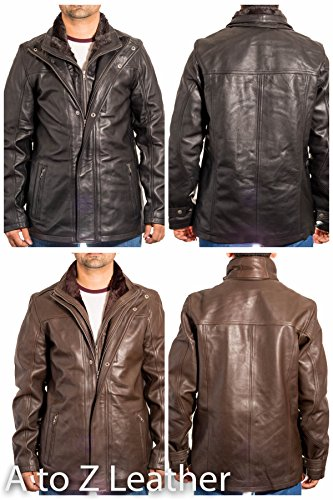 de negro Cuello contract Coat D para hombre Chic cuero largo doblador IRqqExaT
