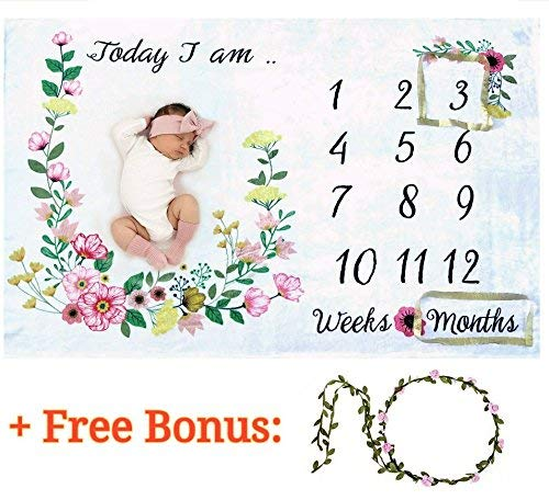 Baby Monthly Milestone Blanket for Girl/Large & Soft/Newborn Photo Prop Blanket/Unique Baby Shower Gift for New Moms/NO Ironing Needed/Months Blanket/Watch me Grow Blanket/Baby Blanket with Months by Gogoshel
