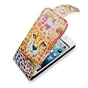 Leopard Colorful Up-Down Turn Over PU Leather Case Bady completa para el iPhone 5/5S