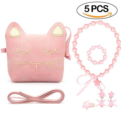 Young deer Little Girls Purses Pink Cute Cat Shoulder Crossbody Bag Necklace Earrings Ring Bracelet for Kids Toddler (Easy Cat Woman Costumes)