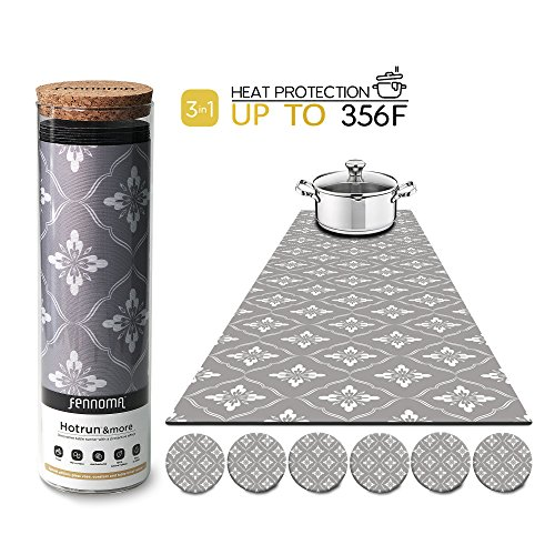 Floral Trivet - Hotrun - 3 in 1 - Trivet and Decorative Table Runner With Coasters (6 pcs) Handles Heat Up to 356F, Anti Slip, Waterproof, and Convenient for Hot Dishes and Pots + Glass Vase (Floral gray)
