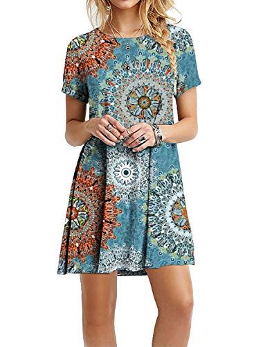 A T-shirt Boot - Women's Casual Plain Short Sleeve Simple T-Shirt Loose Floral Dress