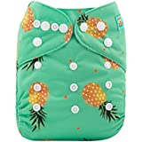 ALVABABY Cloth Diaper One Size Adjustable Reuseable Washable Nappy One Pack with 2 Inserts H074