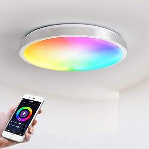 "Smart Ceiling Light Fixture Bedroom,Dimmable Bedroom Lights Ceiling,Flush Mount Ambient Lighting Schemes,Wireless WiFi Lamp Compatible Alexa Google Home,Modern Kid Room Light,13"" 18W"