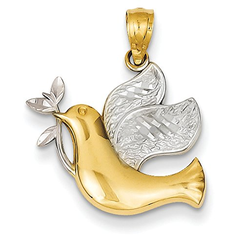 14K Two-Tone Gold Peace Dove Charm Pendant