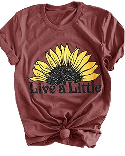 Pibilu Women's Summer Tops Short Sleeve O Neck Letters Printed Sunflower Graphic T Shirt (Coffee,M)