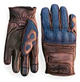 Denim & Leather Motorcycle Gloves (Brown) With Mobile Touchscreen by Indie Ridge (Large)