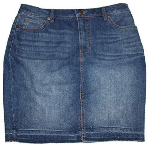 Faded Glory Women's Washed Denim Jean Skirt with Frayed Pulled Out Hem (12)