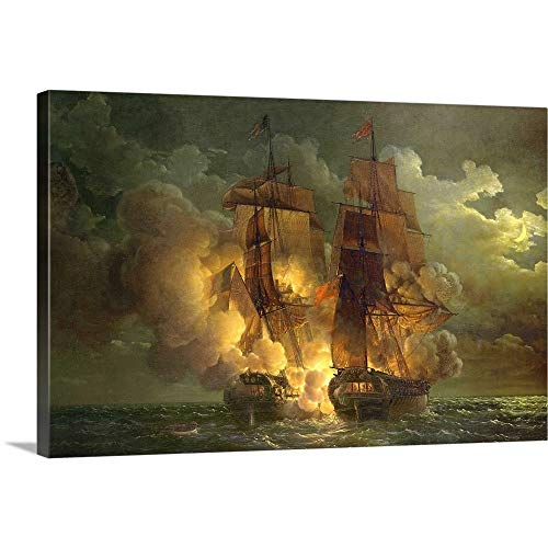 GREATBIGCANVAS Gallery-Wrapped Canvas Entitled Battle Between The French Frigate 'Arethuse' and The English Frigate 'Amelia' by Louis Philippe Crepin 18
