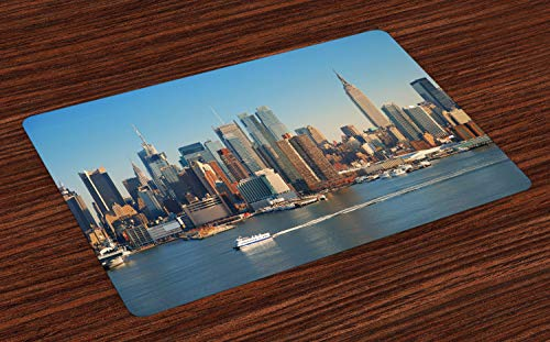 - Ambesonne Urban Place Mats Set of 4, New York City Skyline Over Hudson River Empire State Building Boats and Skyscrapers, Washable Fabric Placemats for Dining Room Kitchen Table Decor, Blue Brown