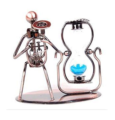 Creative Hand Soldering Wrought Iron Saxphone Musician Statues - Bronze Violinist Sculpture Fiddle Player Model Hourglass Blue Sand Glass Timer Metal Stand for Gifts