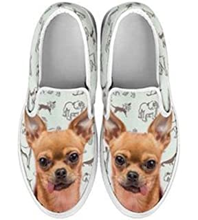Chihuahua Print Slip Ons Shoes For Women
