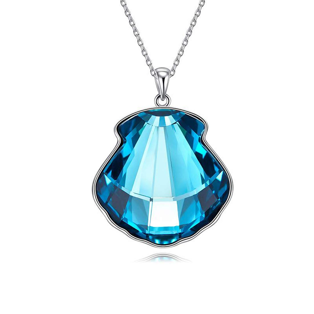 CQFONG Seashell Blue Crystal Pendants Necklaces for Women Girl Bohemian Jewelry,Crystals from Swarovski