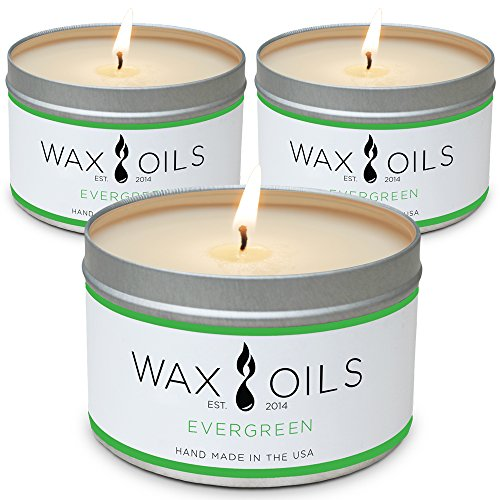 Wax and Oils Soy Wax Aromatherapy Scented Candles (Evergreen) 8 Ounces. 3 -