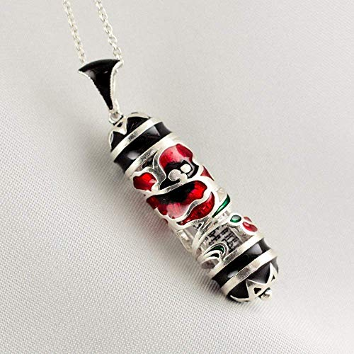 Anemones Mezuzah Necklace Red Kalaniot Flowers on Black Jewish Pendant Sterling Silver Jewish Necklace with Stars of David Bat Mitzvah Gift