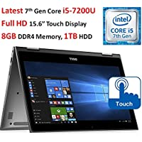 "Dell Inspiron 2-in-1 13.3"" (2017 Newest) Full HD Touchscreen Convertible Laptop, Intel Core i5-7200U (3M, up to 3.1GHz), 8GB DDR4 RAM, 256GB SSD, Backlit Keyboard, Wi-Fi, Bluetooth, Webcam, Win 10"